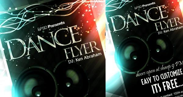brochure design, free dance flyer psd
