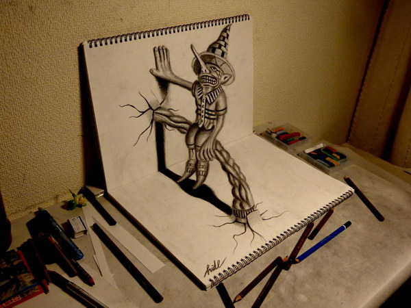 3d drawing scarecrow on book