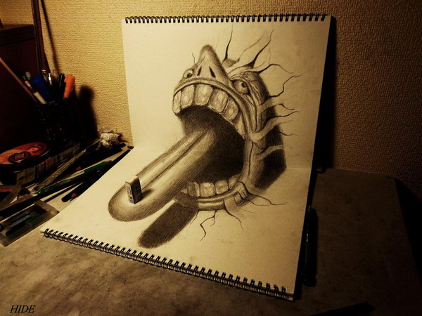 3d-drawing-tongue-on-book