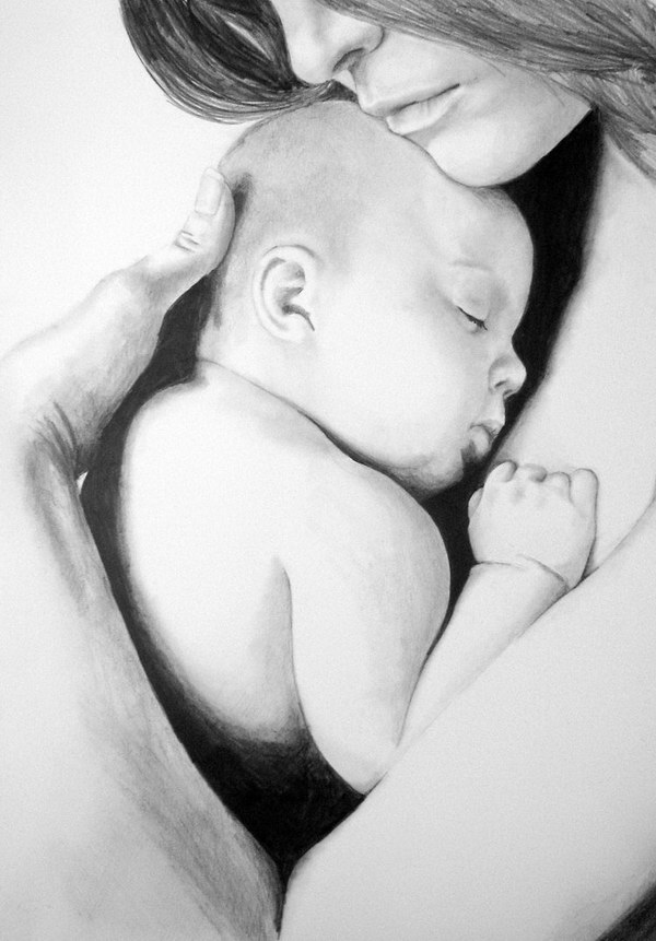 baby-in-moms-arms-pencil-drawing