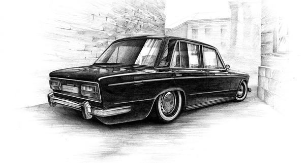 lada 2103 pencil drawing