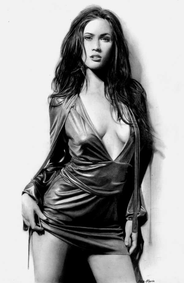 megan fox pencil drawing
