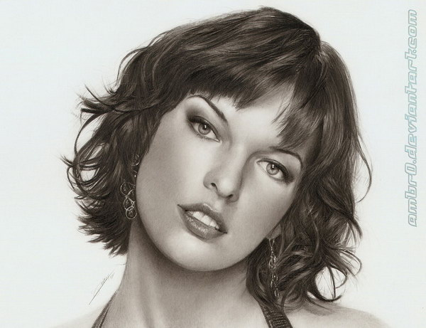 milla jovovich pencil drawing