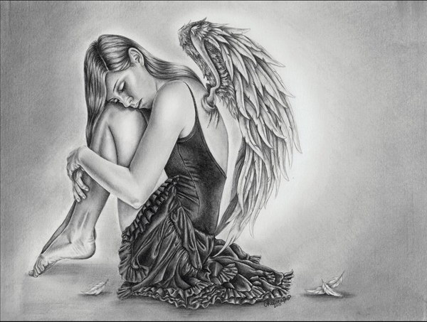 pencil drawings of the fallen angel