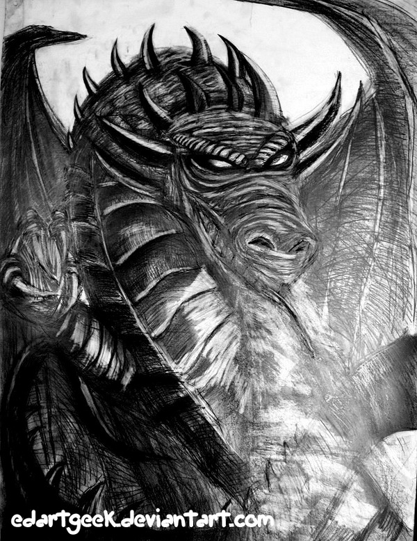 10 cool dragon drawings for inspiration 2017 for Cool fantasy drawings