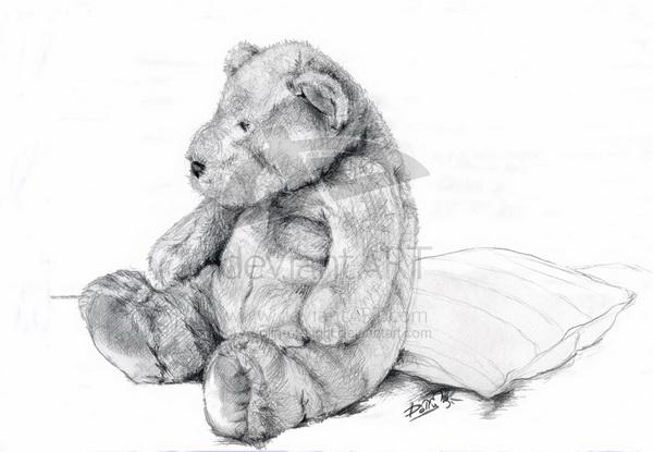 грустный медвежонок картинки карандашом