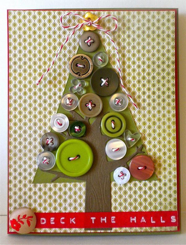 button tree christmas card 49