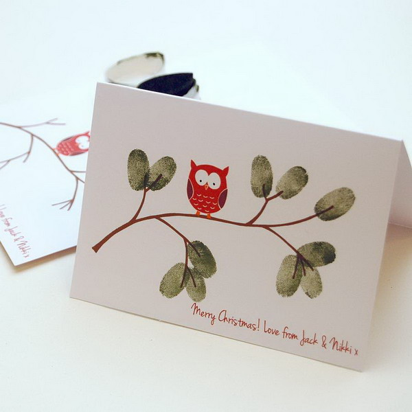 christmas owl fingerprint card 39