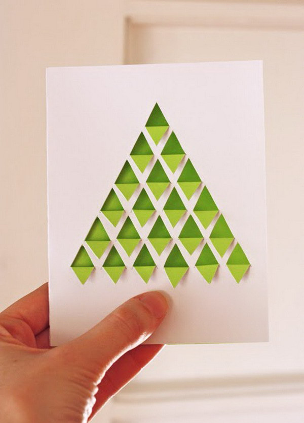 diy geometric christmas tree card 44