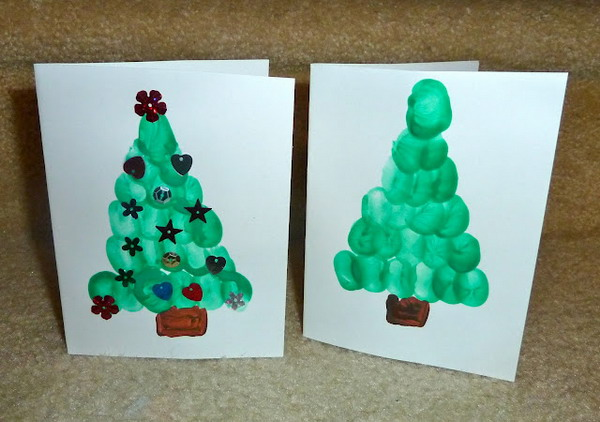 fingerprint christmas tree card 38