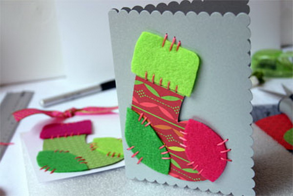 homemade stocking christmas card 53