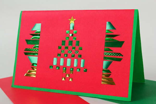 woven ribbon tree christmas card 41