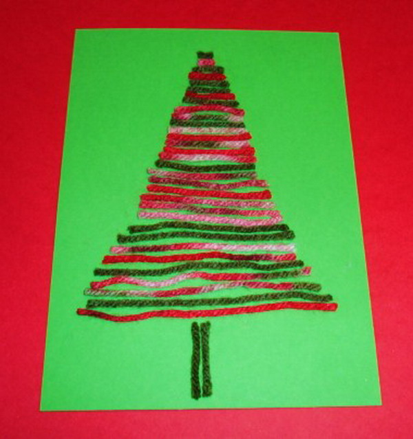 yarn tree craft xmas card 45