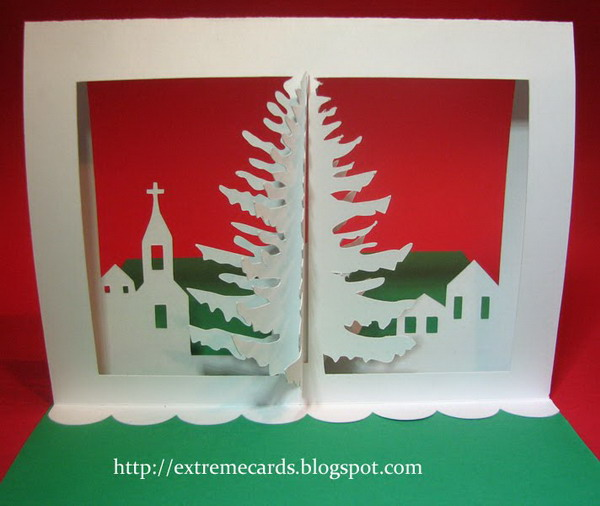 3d christmas tree pop up card tutorial 9