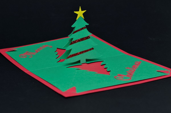 easy christmas tree pop up card 11