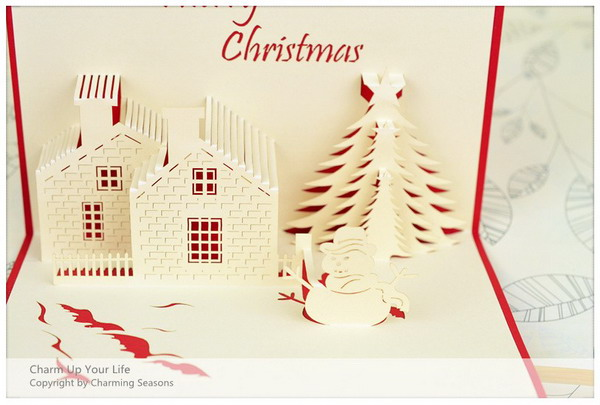 origami 3d christmas tree snowman pop up card 23