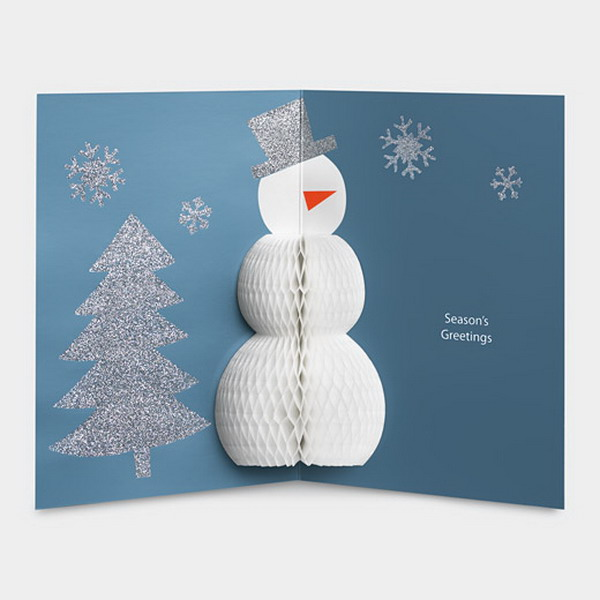 pop up xmas card with snow man 28