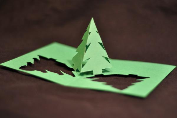 pyramid xmas tree pop up card 14