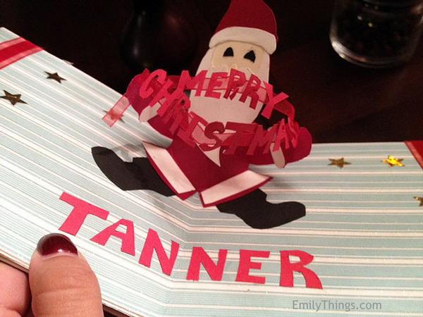 red santa pop up christmas card 29