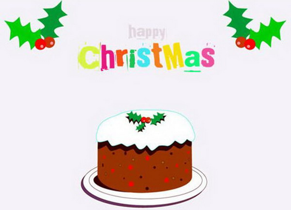 cartoon christmas cake card 32