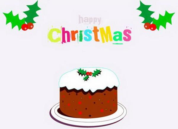 cartoon christmas cake card 32