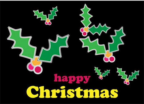 christmas holly free printable card 30