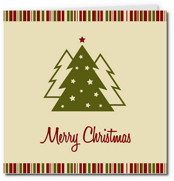classic christmas trees card with candy strip border 26
