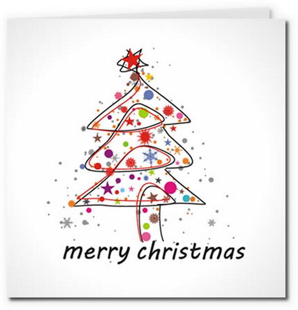 colorful modern christmas tree card 25