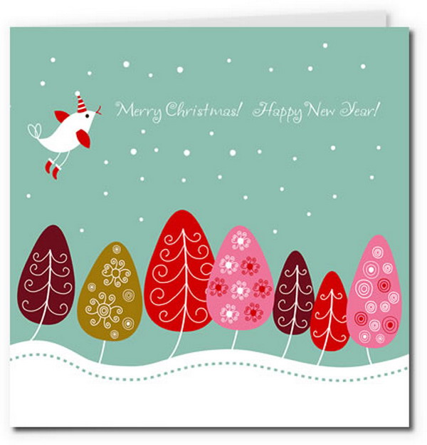 cute birdy in snowy tree scene design 16