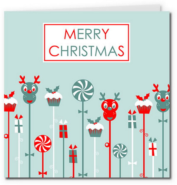 cute reindeer christmas ornament card 22