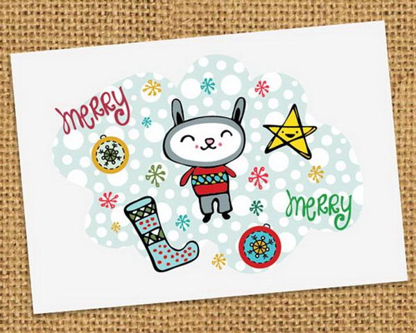 kawaii merry holiday card 3