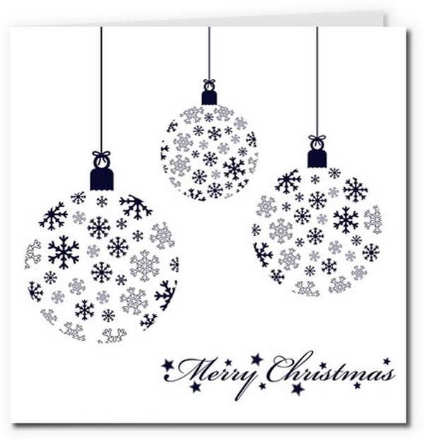modern snowflake bauble card design 28