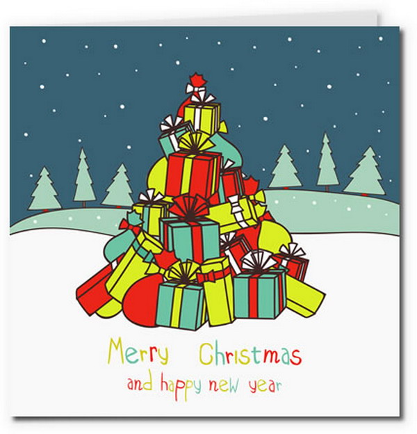 pile of christmas gifts in tree shape card 13