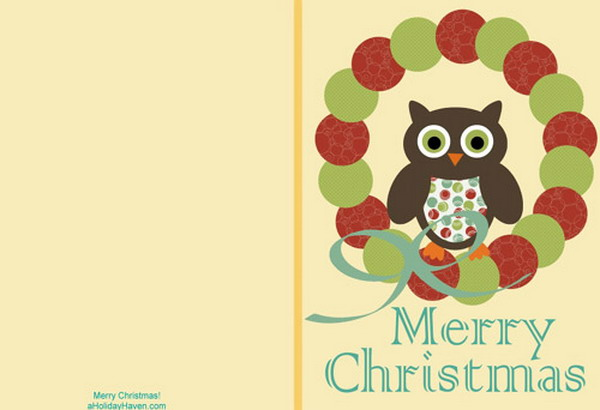 printable christmas cards with owl 6