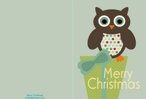 printable christmas cards with owl 7