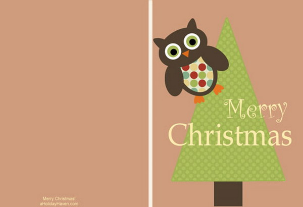 printable christmas cards with owl 8