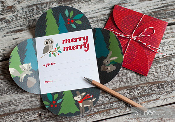 printable holiday petal card 2