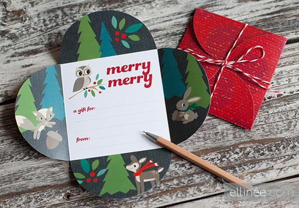 printable holiday petal card 2