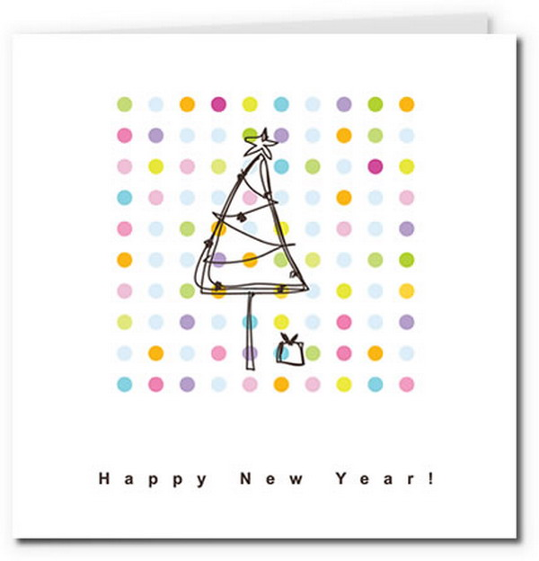 sketched christmas tree card with polka dot background 24