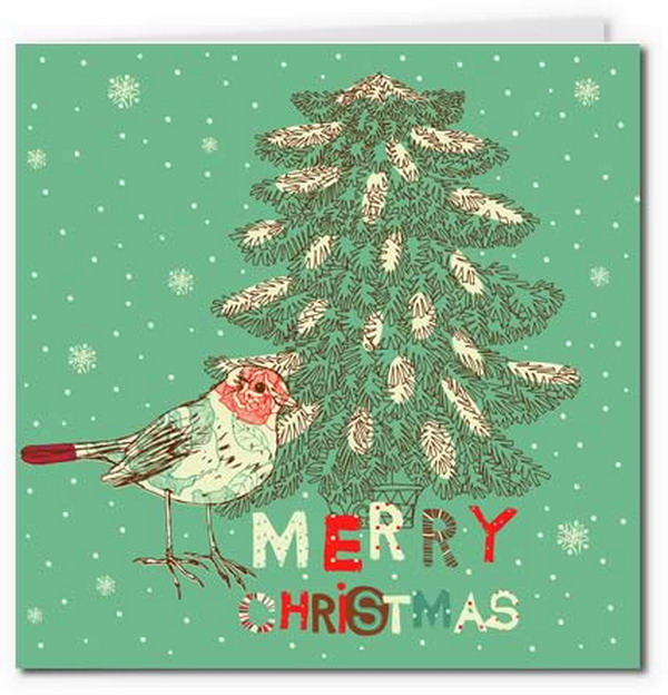 vintage christmas tree bird card 14