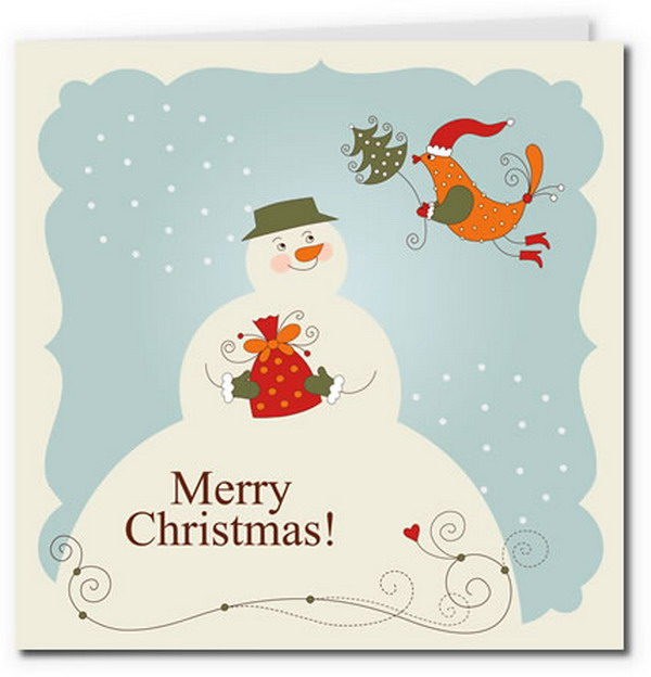 vintage snowman birdy card 9 - Christmas Card Print Out
