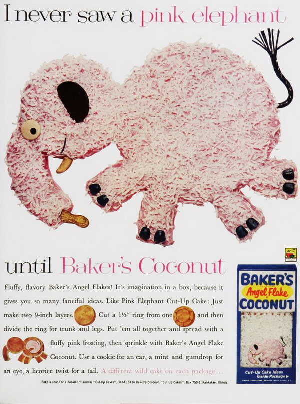 1961 bakers coconut ad pink elephant 31