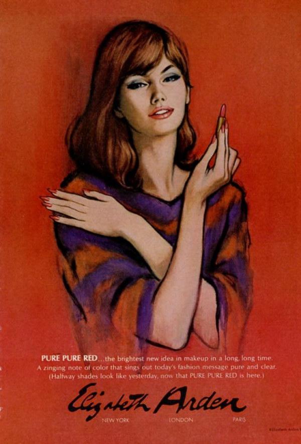 1966 pure red lipstick art 41