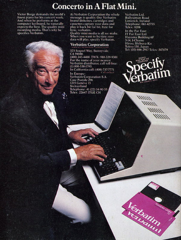 victor borge floppy diskettes ad 47