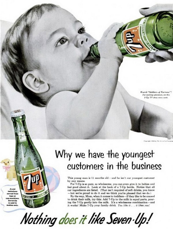vintage 7up baby drinking advert 24
