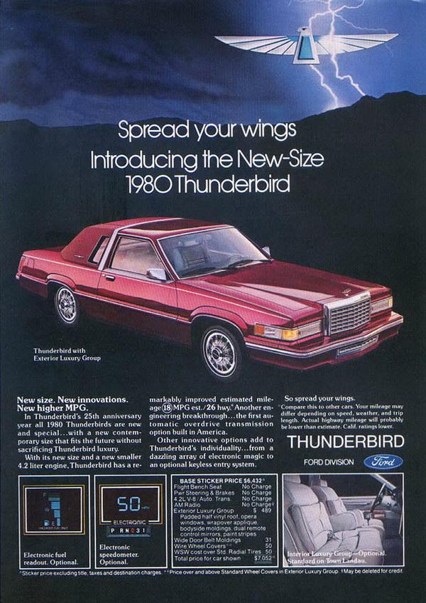 vintage car ad 1980 ford thunderbird 11