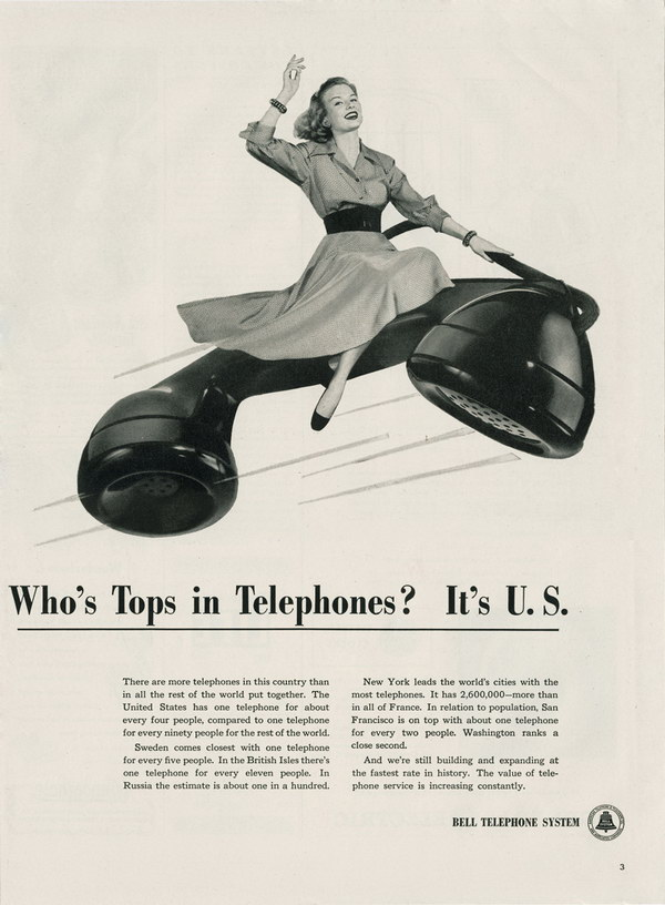 vintage funny ad 1948 bell telephone 46