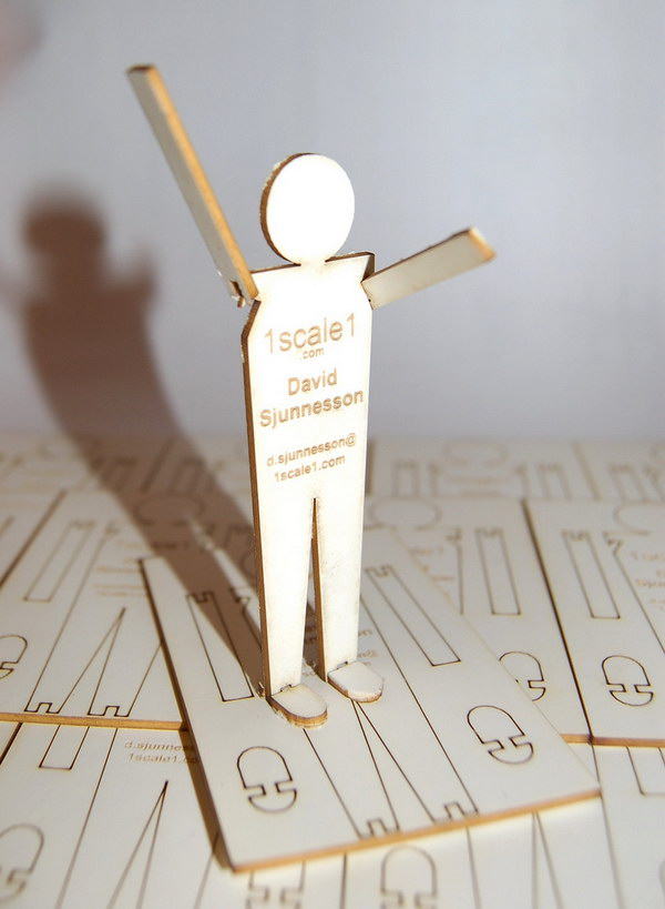 lasercut business card with popout figure 23