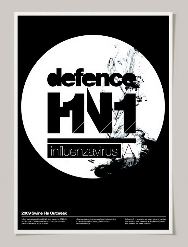 defence h1n1 typographic poster 25