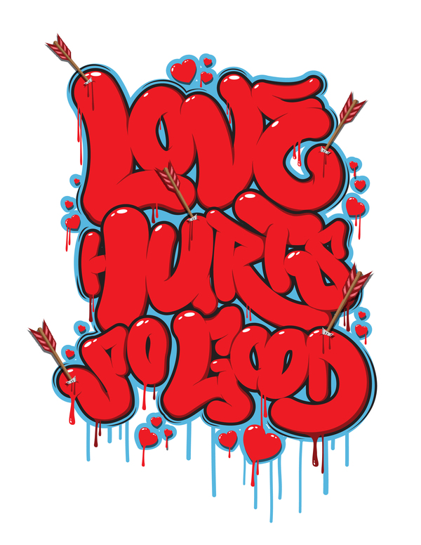 love hurts typographic poster 44